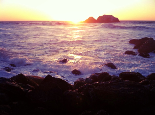 Watching the sunset at Sutro Baths