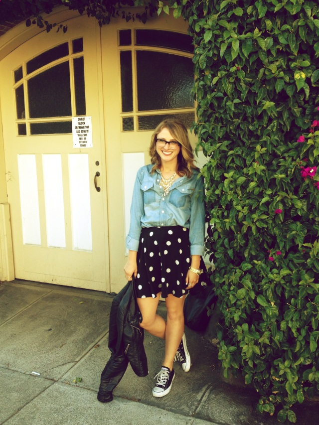 Shirt: F21 | Skirt: Impulse for Macy's | Jacket: F21 | Shoes: Converse | Necklace: F21