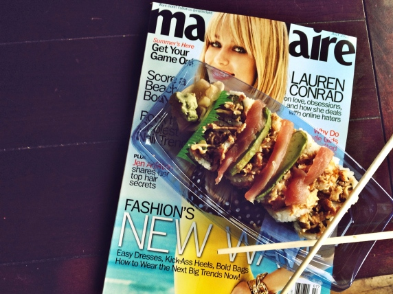 Ending the most amazing weekend with sushi and fashion magazines.