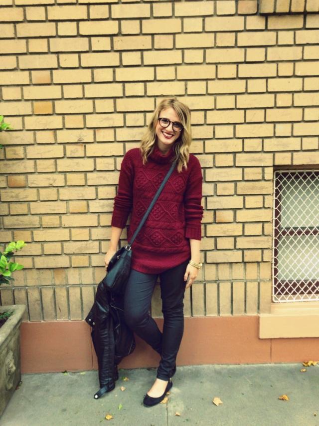 Jacket: F21 | Sweater: H&M | Pants: H&M | Purse: H&M | Shoes: H&M