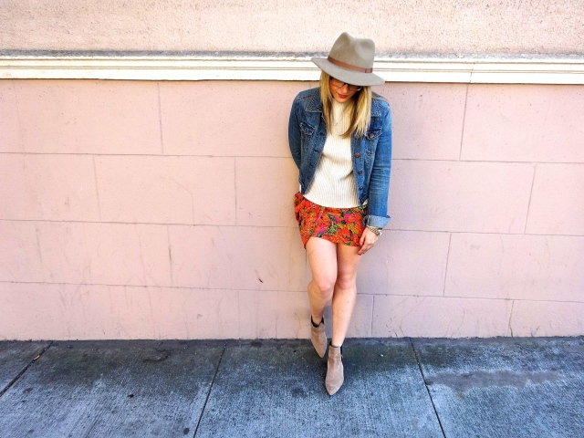 Hat: Hats Of The Fillmore | Jacket: Target | Sweater: H&M | Skirt: Crossroads Trading | Shoes: Zara