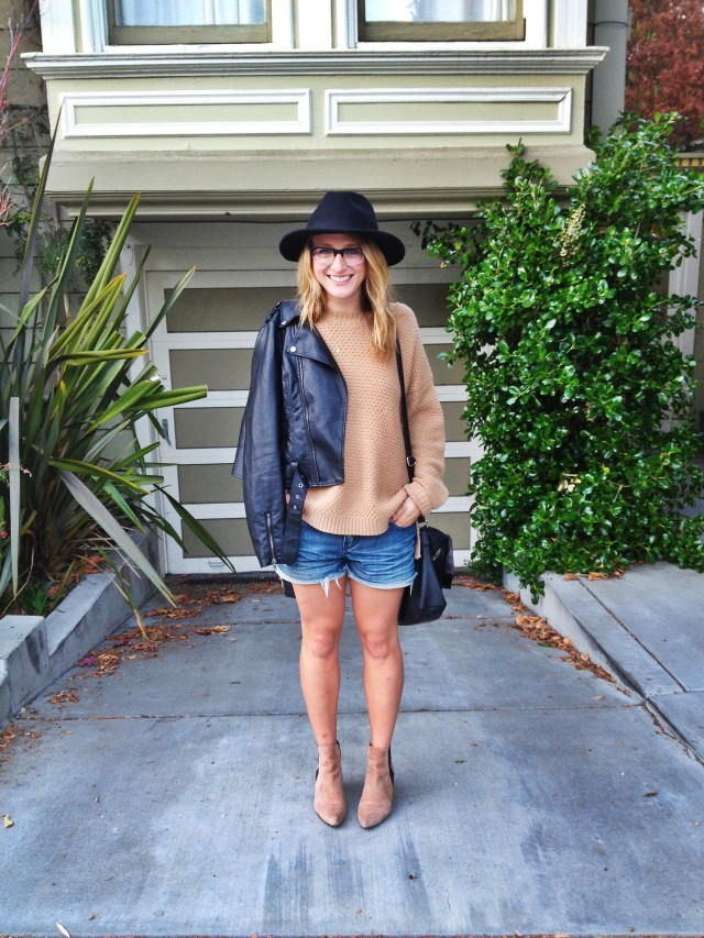 Jacket: Bar III | Sweater: F21 | Shorts: F21 | Shoes: Zara | Purse: H&M | Hat: Hats of the Fillmore
