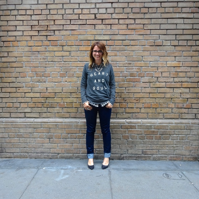 Sweatshirt: Old Navy | Shirt: F21 via Crossroads Trading | Jeans: Gap | Shoes: H&M | Necklace: F21