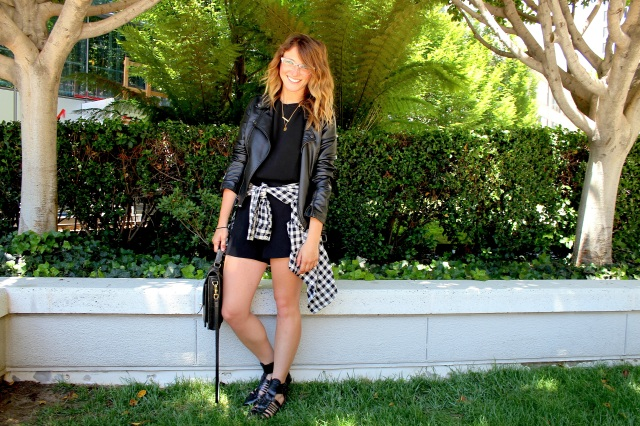 Romper: Club Monaco | Shirt: F21 | Sandals: Zara | Jacket: Bar III